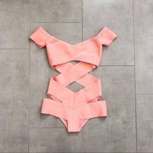 New w/ Flaw Nasty Gal Pink Cutout One Piece Bikini